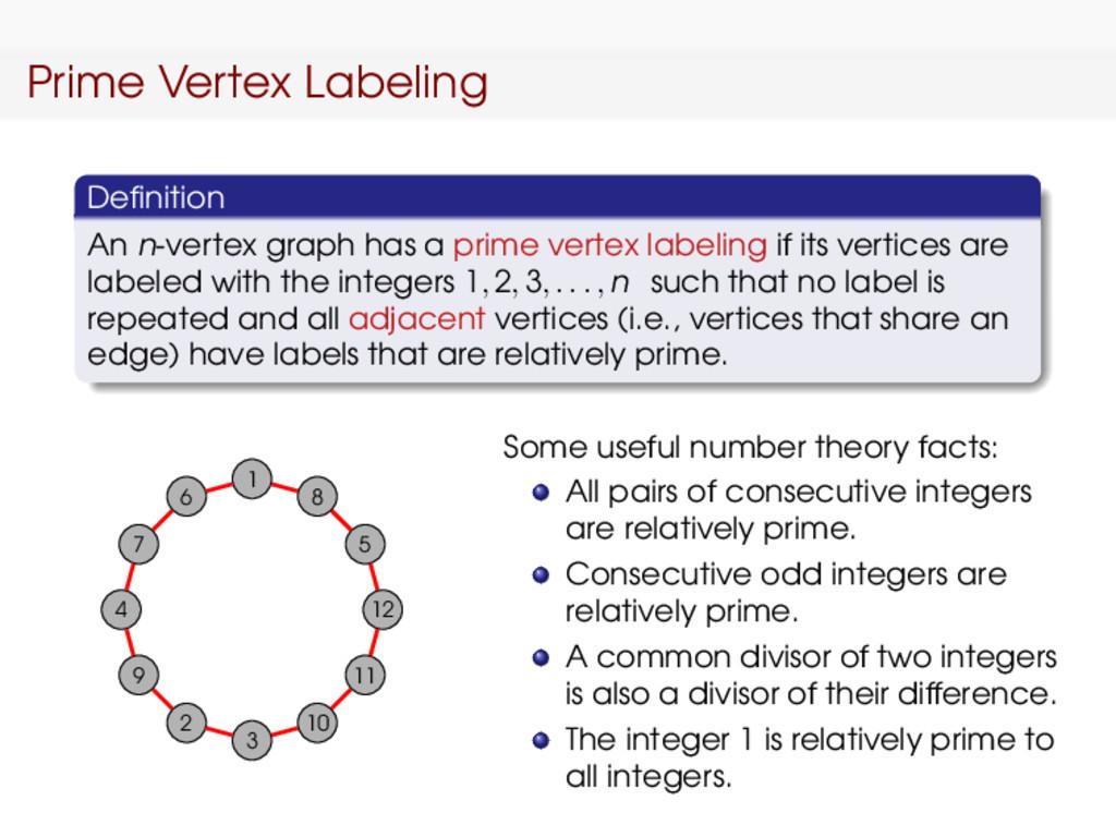 Prime Vertex Labeling Definition An n-vertex gra...