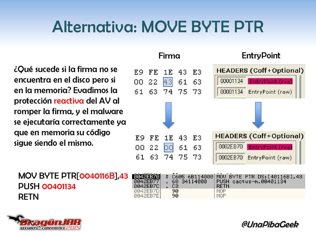 @UnaPibaGeek Alternativa: MOVE BYTE PTR MOV BYT...