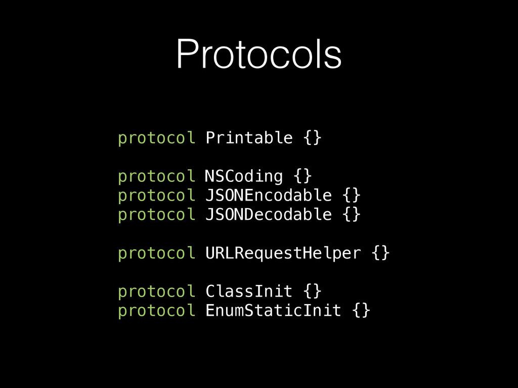 Protocols protocol Printable {} protocol NSCodi...