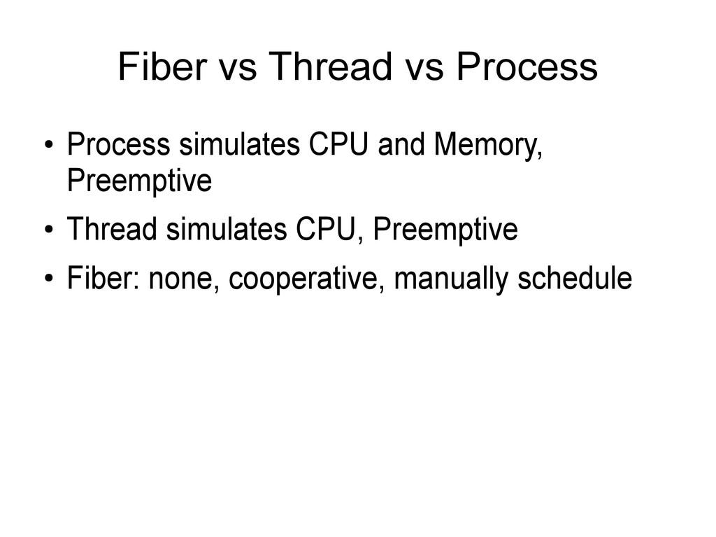 Fiber vs Thread vs Process ● Process simulates ...