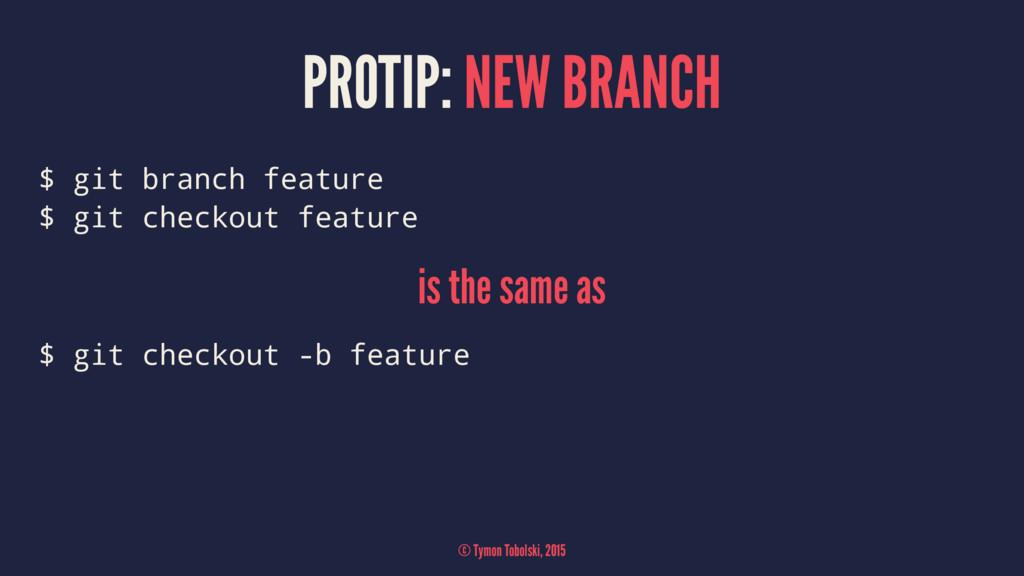 PROTIP: NEW BRANCH $ git branch feature $ git c...