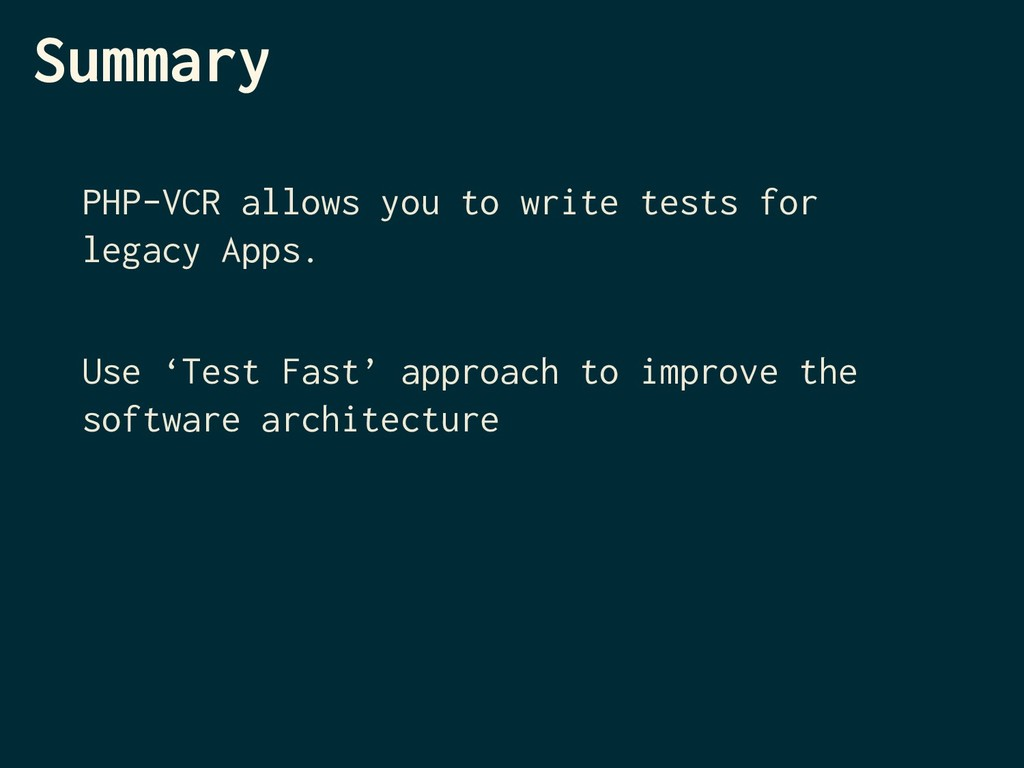 Summary PHP-VCR allows you to write tests for l...