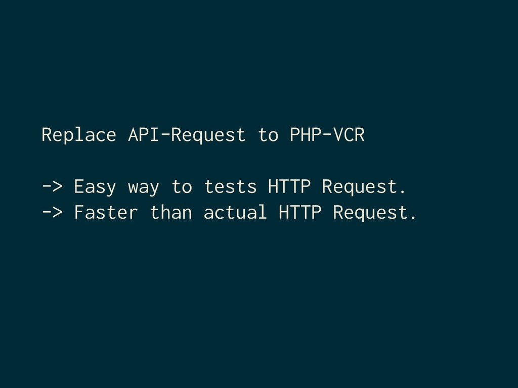 Replace API-Request to PHP-VCR -> Easy way to t...