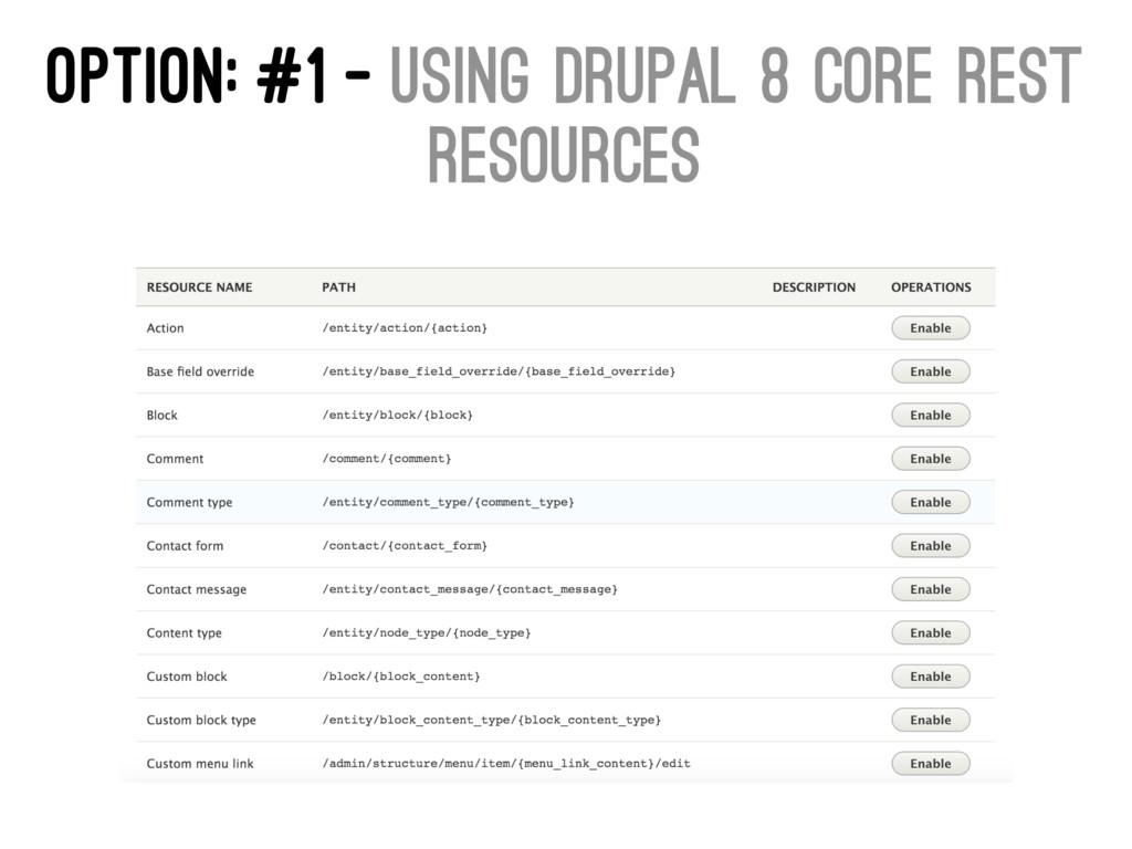 OPTION: #1 - USING DRUPAL 8 CORE REST RESOURCES