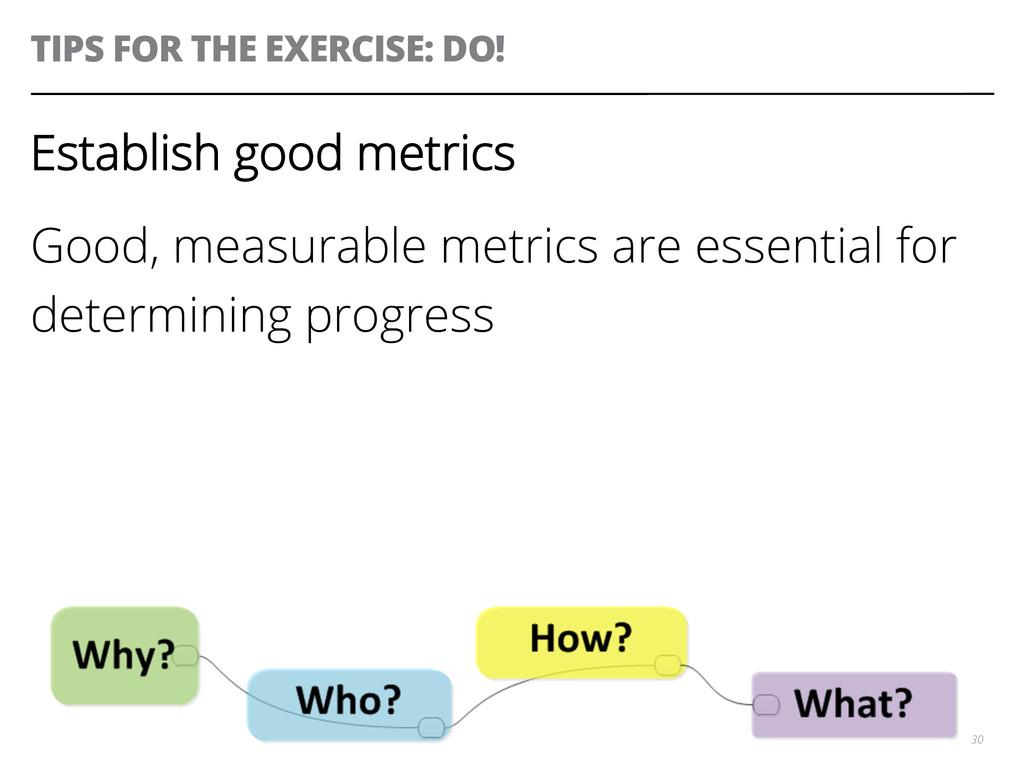 TIPS FOR THE EXERCISE: DO! 30 Establish good me...