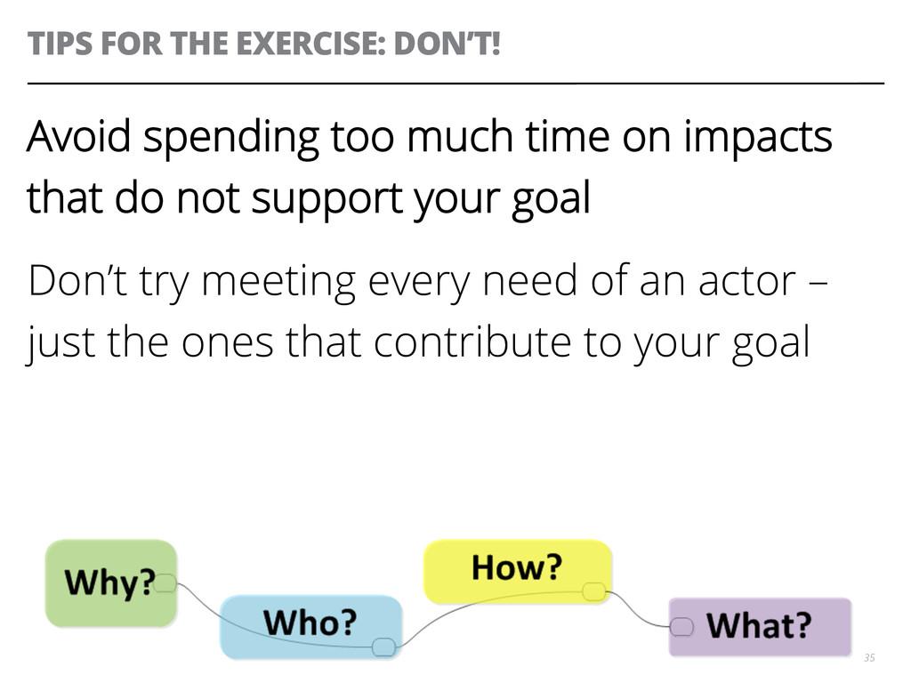 TIPS FOR THE EXERCISE: DON'T! 35 Avoid spending...