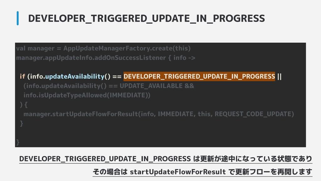 DEVELOPER_TRIGGERED_UPDATE_IN_PROGRESS val mana...