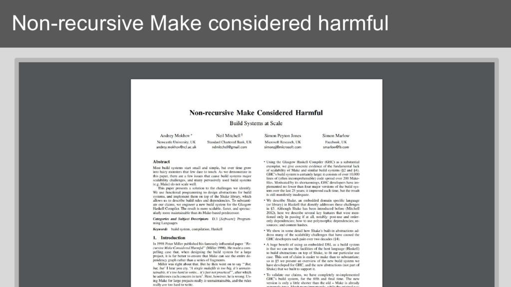 Non-recursive Make considered harmful