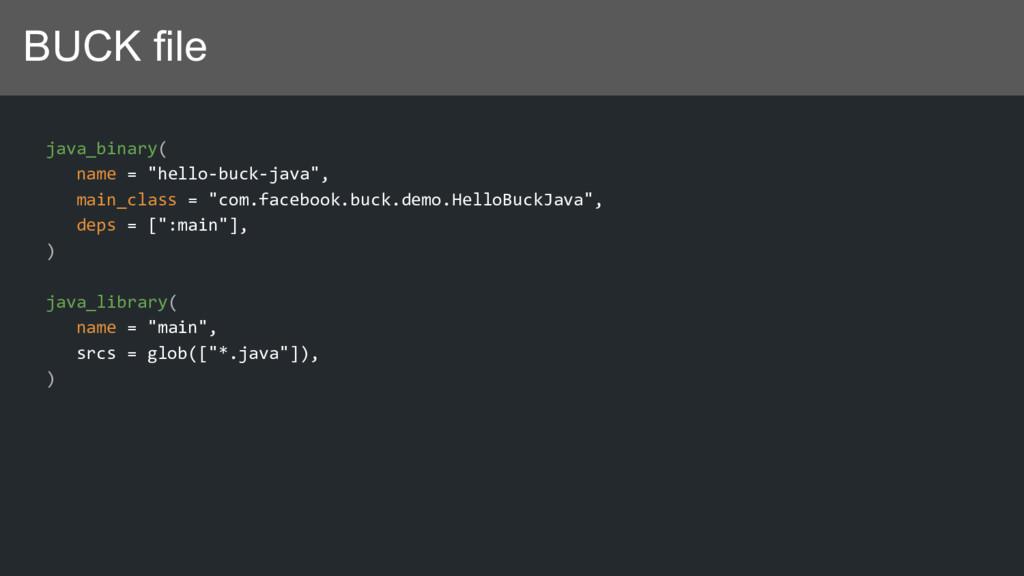 "BUCK file java_binary( name = ""hello-buck-java""..."
