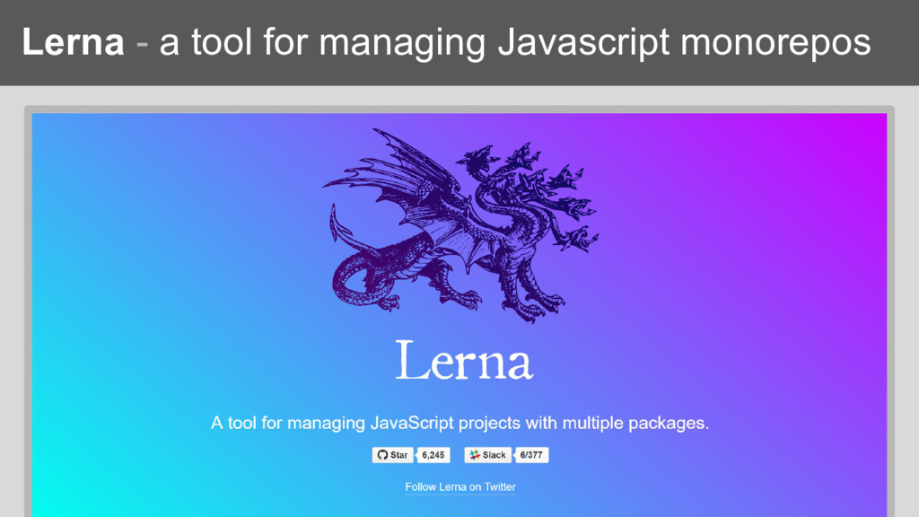 Lerna - a tool for managing Javascript monorepos