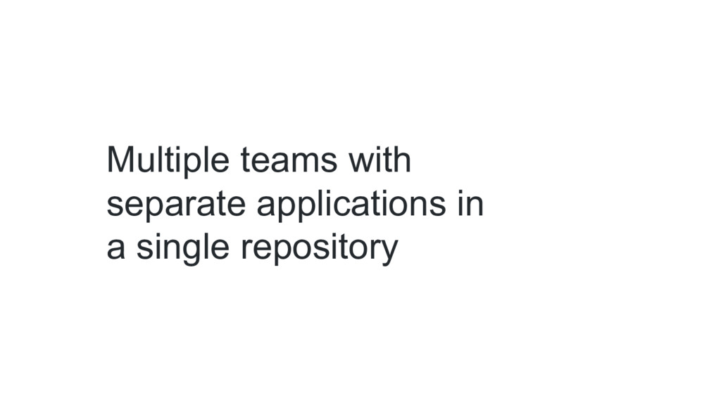 Multiple teams with separate applications in a ...