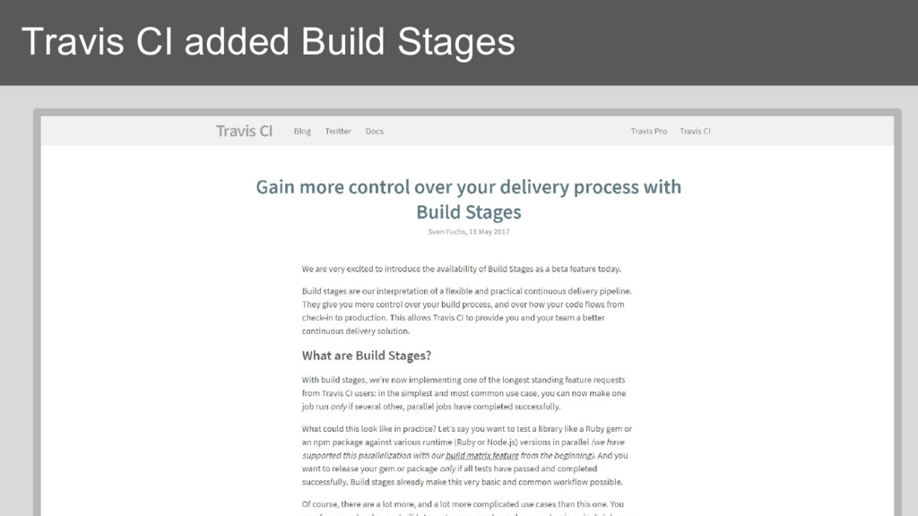 Travis CI added Build Stages