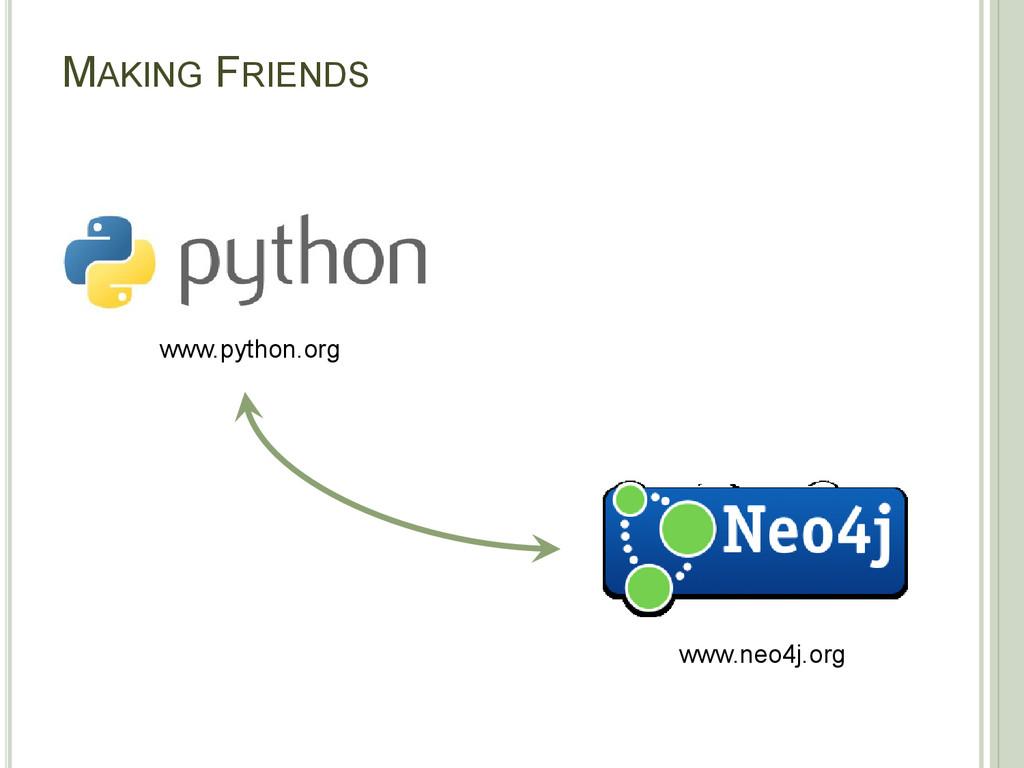 MAKING FRIENDS www.neo4j.org www.python.org