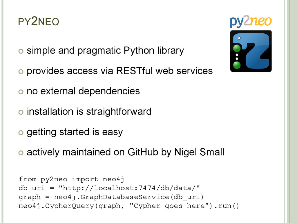 PY2NEO  simple and pragmatic Python library  ...