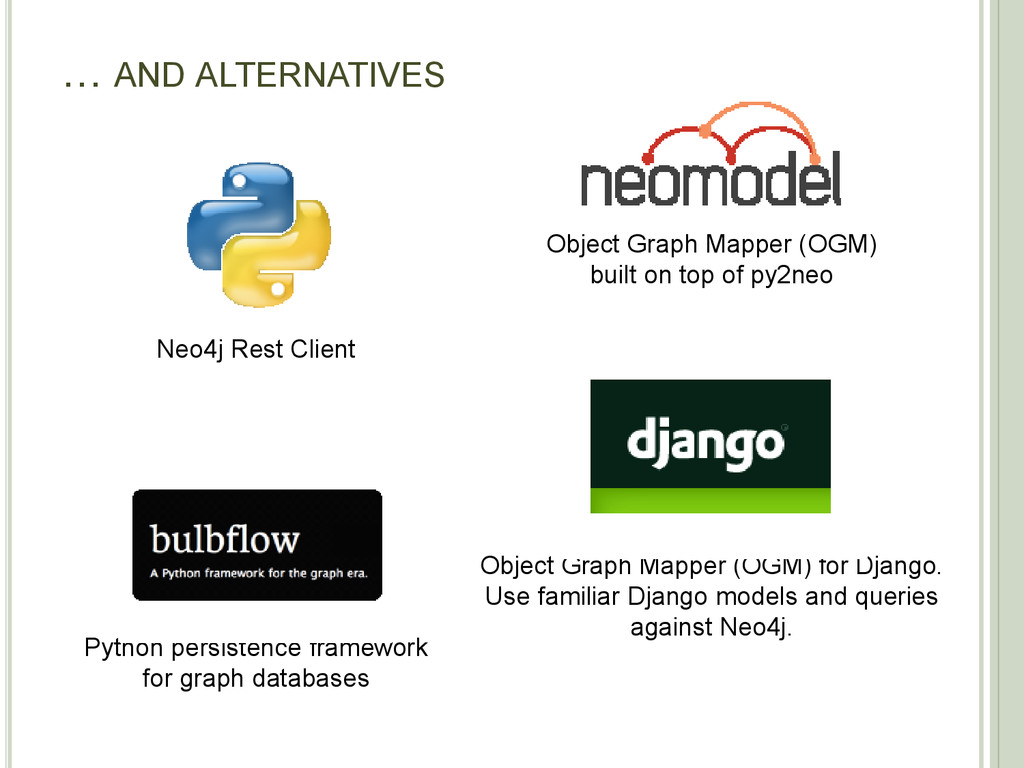 … AND ALTERNATIVES Object Graph Mapper (OGM) bu...