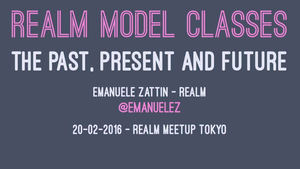 REALM MODEL CLASSES THE PAST, PRESENT AND FUTUR...
