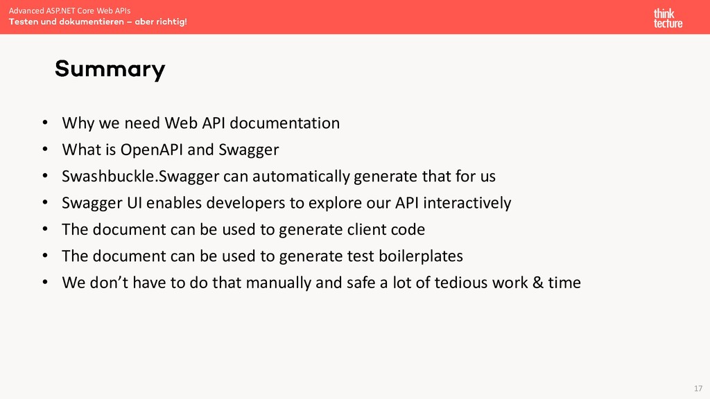 17 • Why we need Web API documentation • What i...