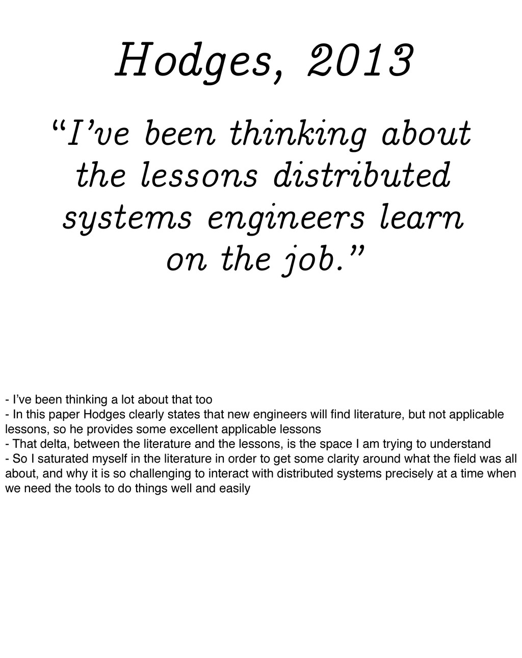 """""""I've been thinking about the lessons distribut..."""