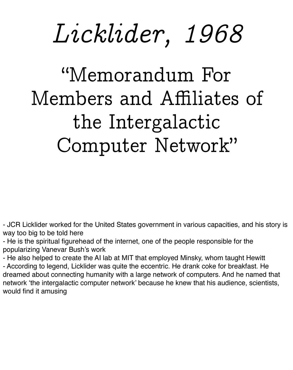 """""""Memorandum For Members and Affiliates of the Int..."""
