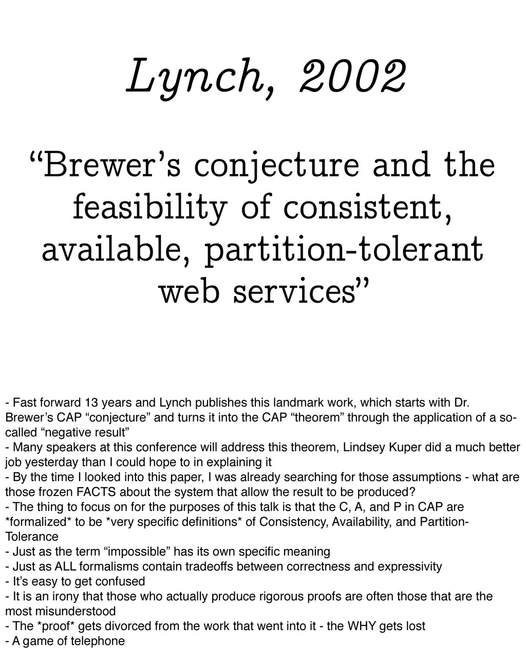 """""""Brewer's conjecture and the feasibility of con..."""