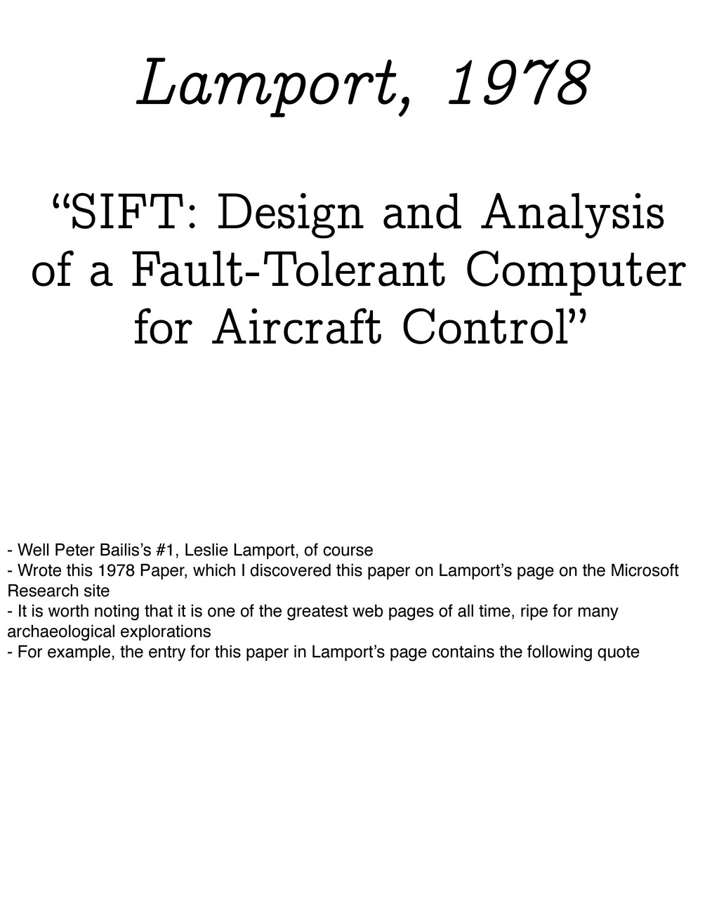 """""""SIFT: Design and Analysis of a Fault-Tolerant ..."""