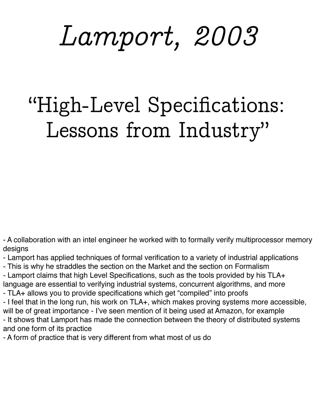 """""""High-Level Specifications: Lessons from Industr..."""
