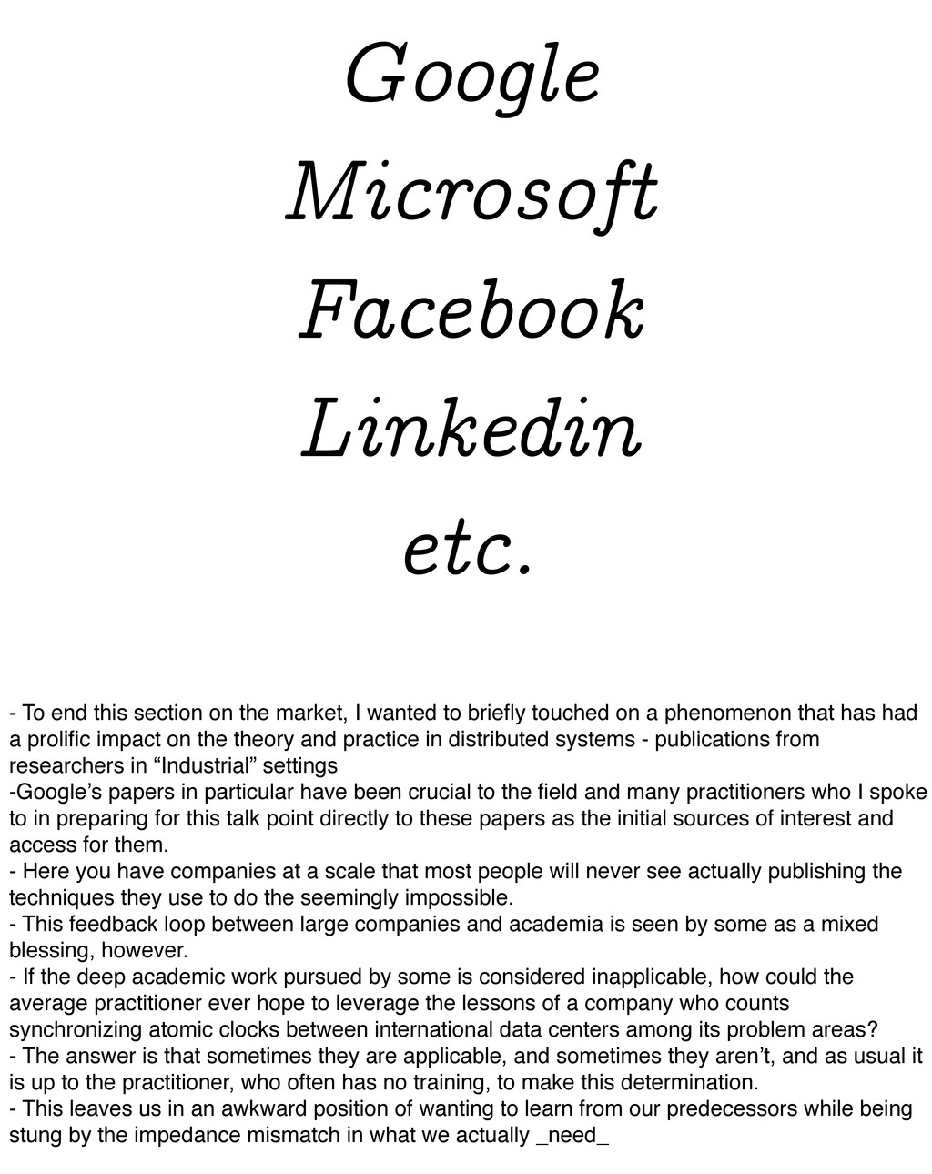 Google Microsoft Facebook Linkedin etc. - To en...
