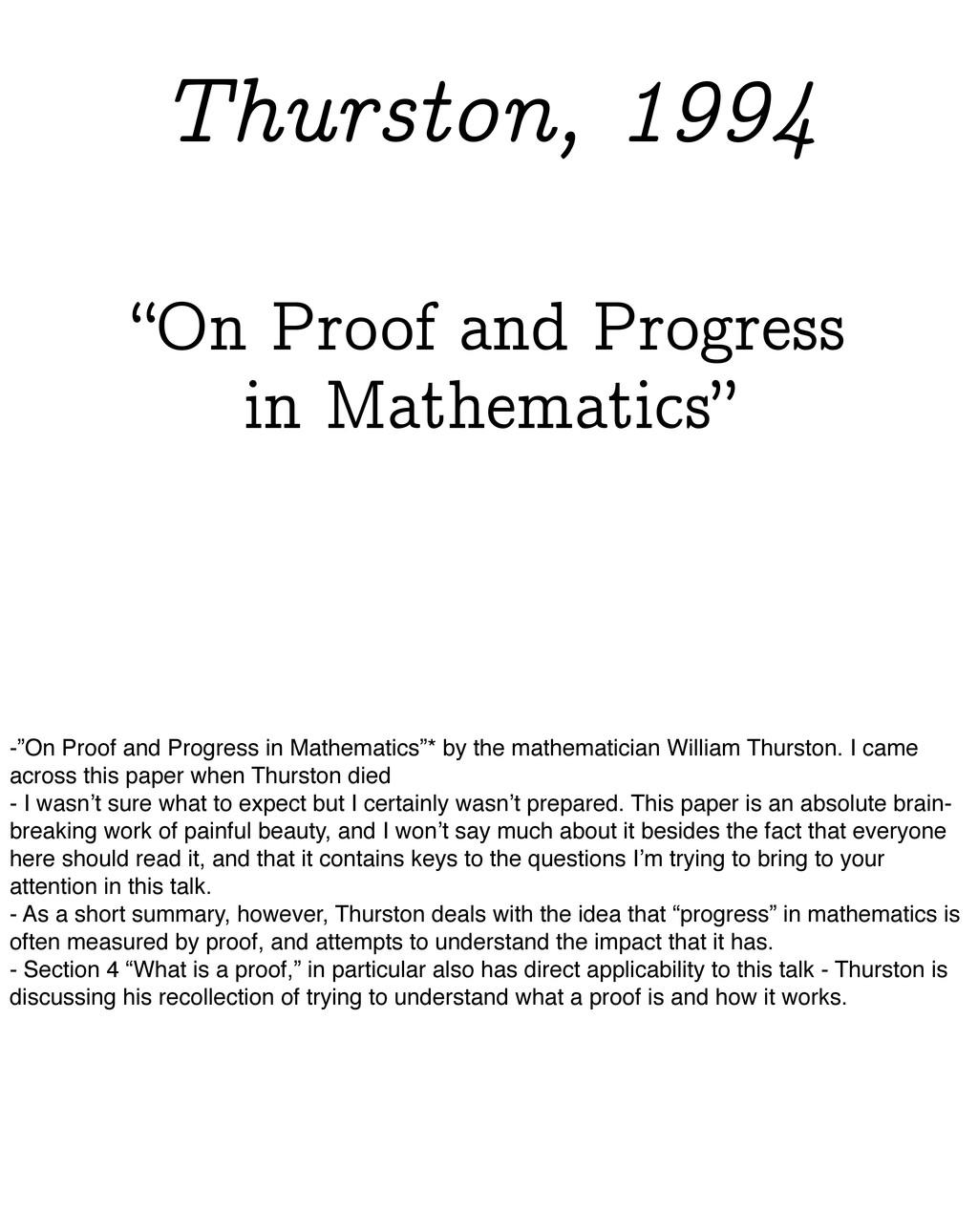 """On Proof and Progress in Mathematics"" Thurston..."