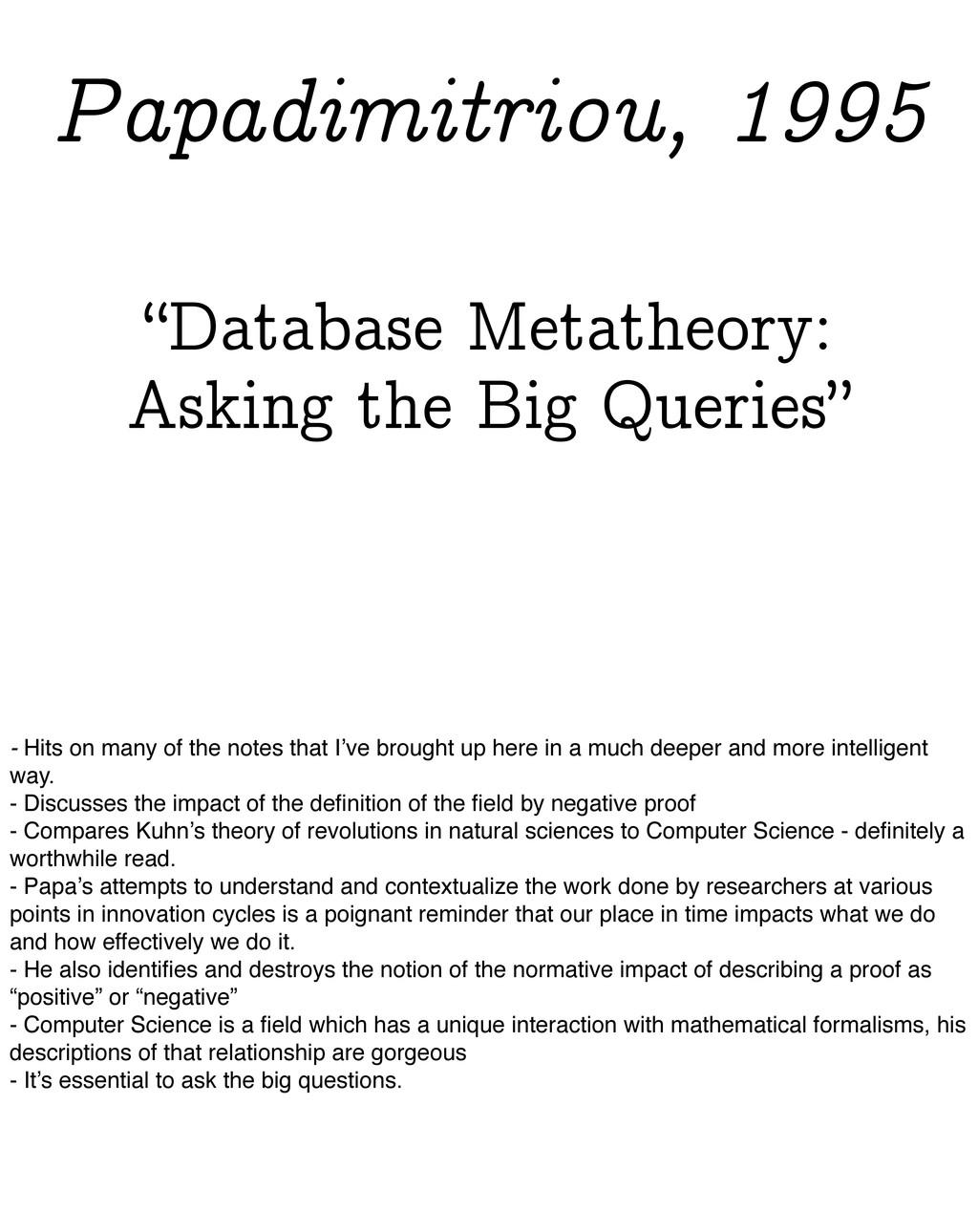 """Database Metatheory: Asking the Big Queries"" P..."