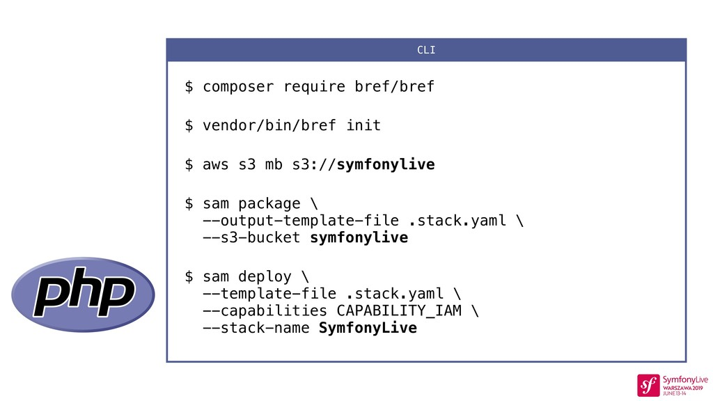 $ composer require bref/bref $ vendor/bin/bref ...