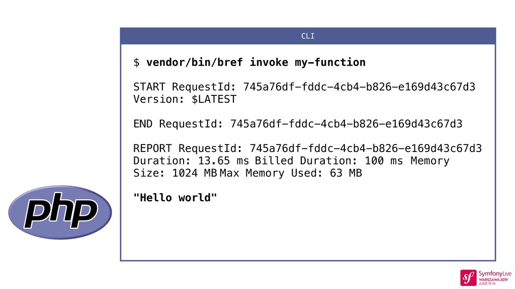 $ vendor/bin/bref invoke my-function