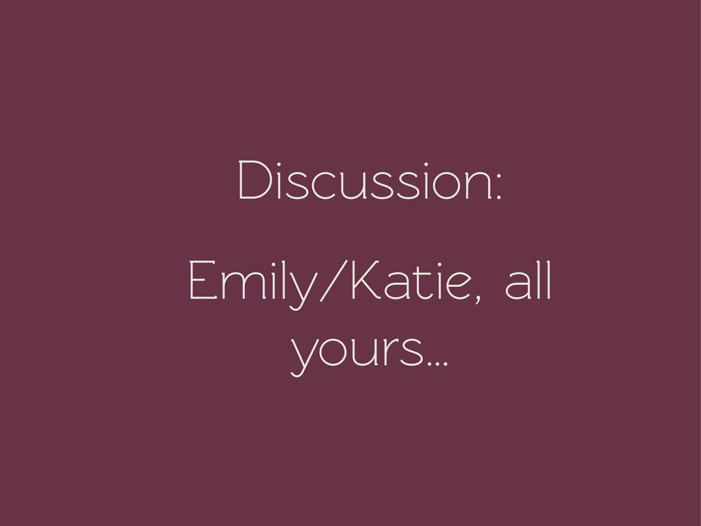 Discussion: Emily/Katie, all yours…