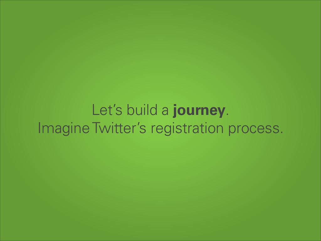 Let's build a journey. Imagine Twitter's regis...