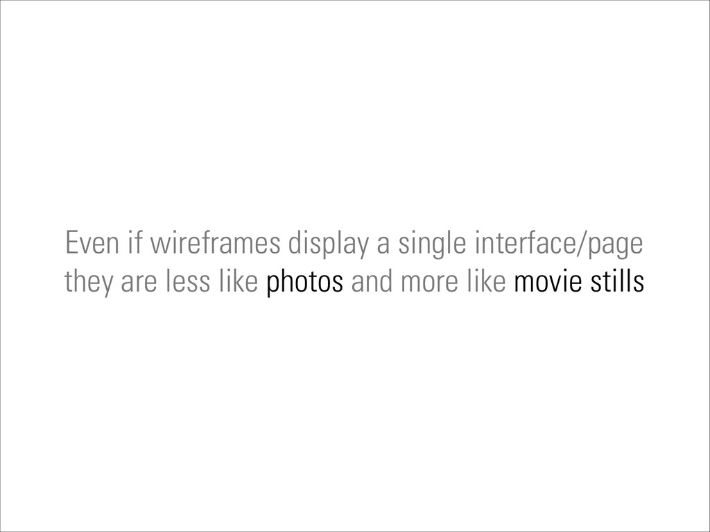 Even if wireframes display a single interface/p...
