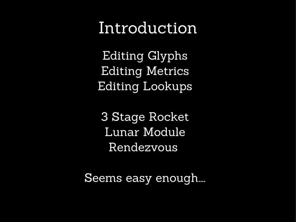 Introduction Editing Glyphs Editing Metrics Edi...
