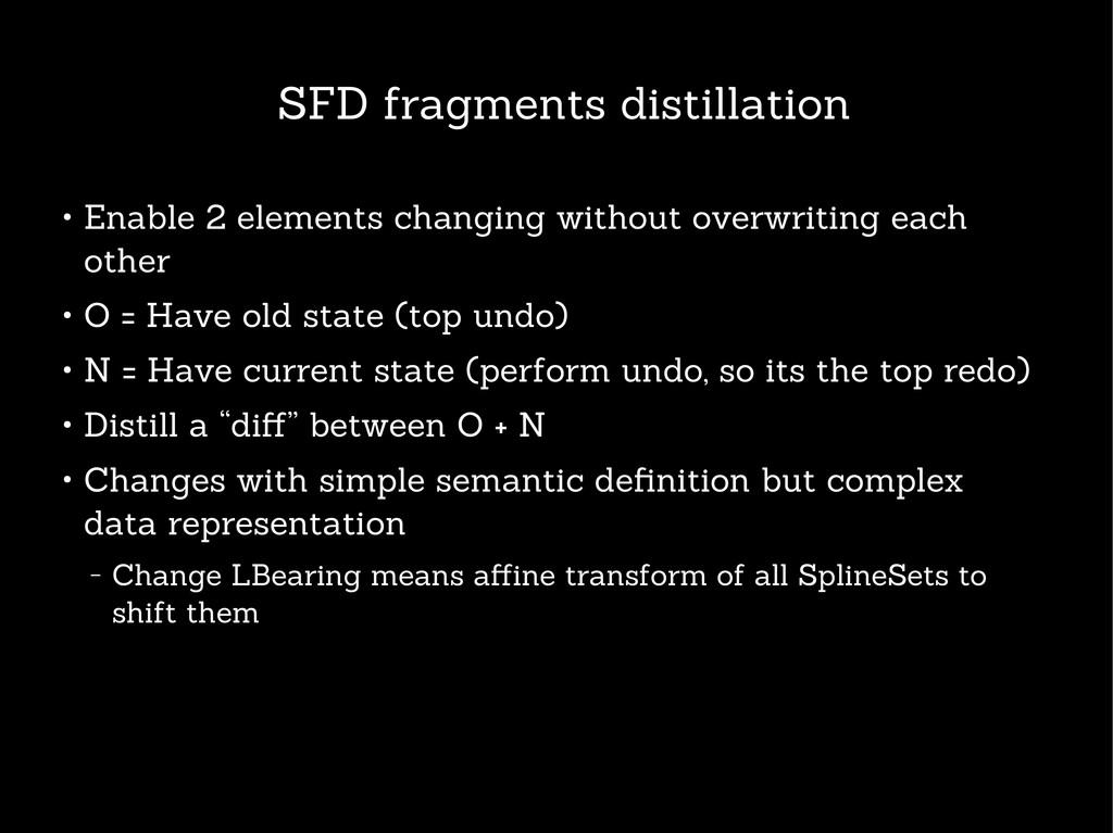 SFD fragments distillation ● Enable 2 elements ...