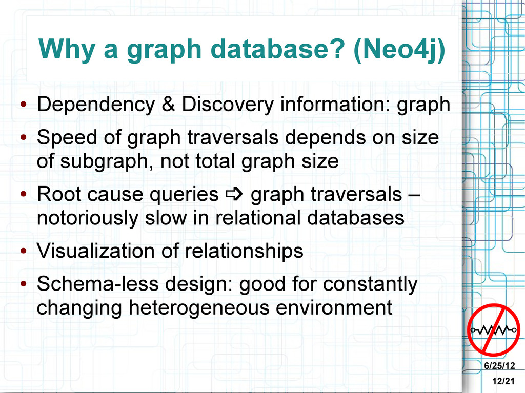 6/25/12 12/21 Why a graph database? (Neo4j) ● D...