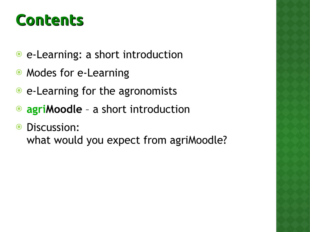 Contents Contents  e-Learning: a short introdu...