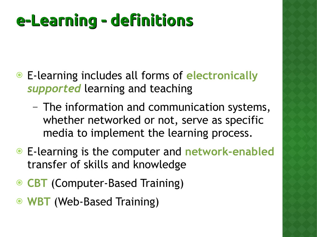 e-Learning - definitions e-Learning - definitio...