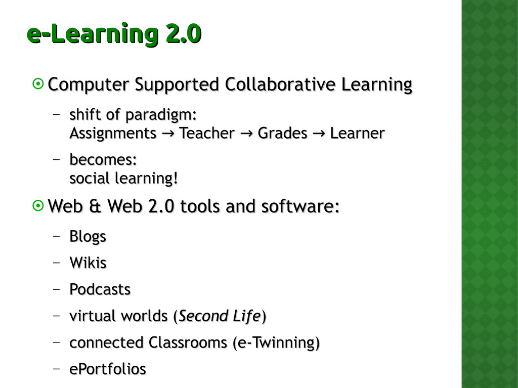 e-Learning 2.0 e-Learning 2.0  Computer Suppor...