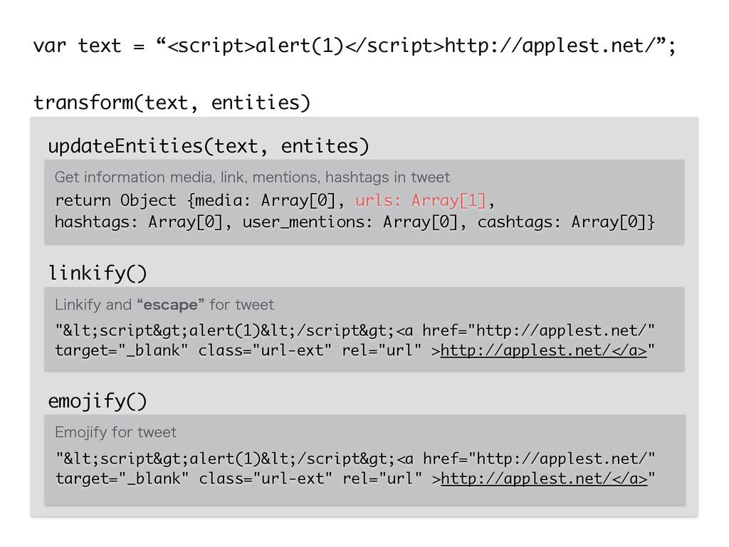 "transform(text, entities) var text = ""<script>a..."