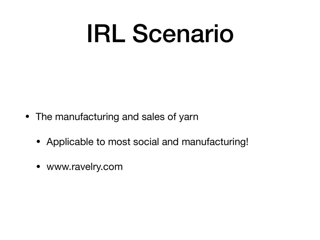 IRL Scenario • The manufacturing and sales of y...