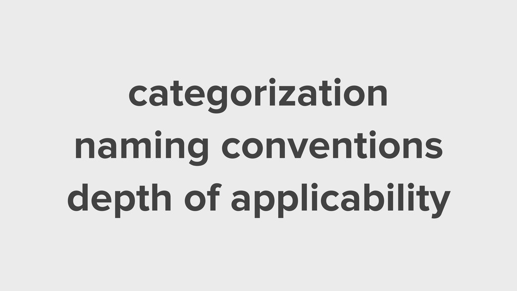 categorization naming conventions depth of appl...