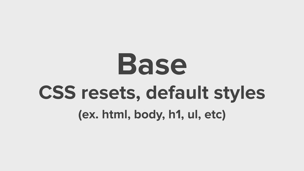 Base CSS resets, default styles (ex. html, body...