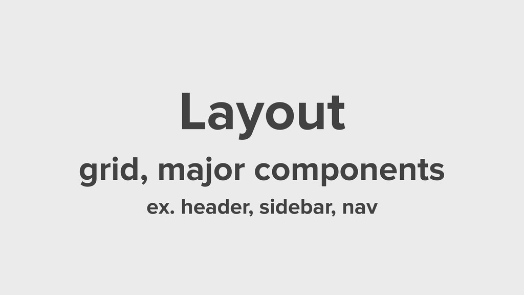 Layout grid, major components ex. header, sideb...