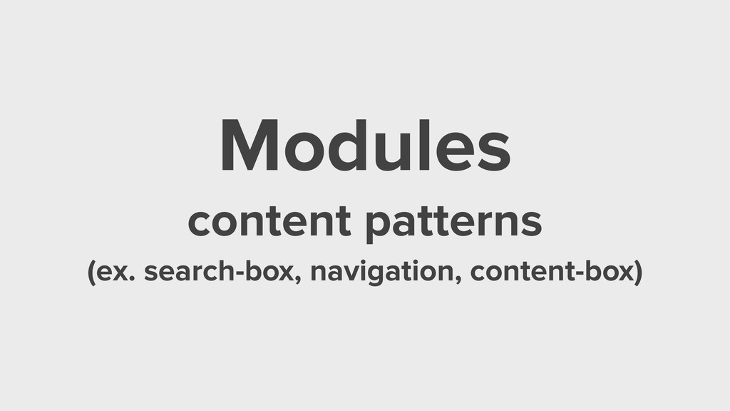 Modules content patterns (ex. search-box, navig...