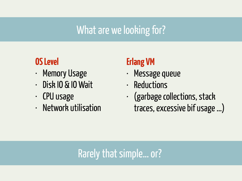 What are we looking for? OS Level • Memory Usag...