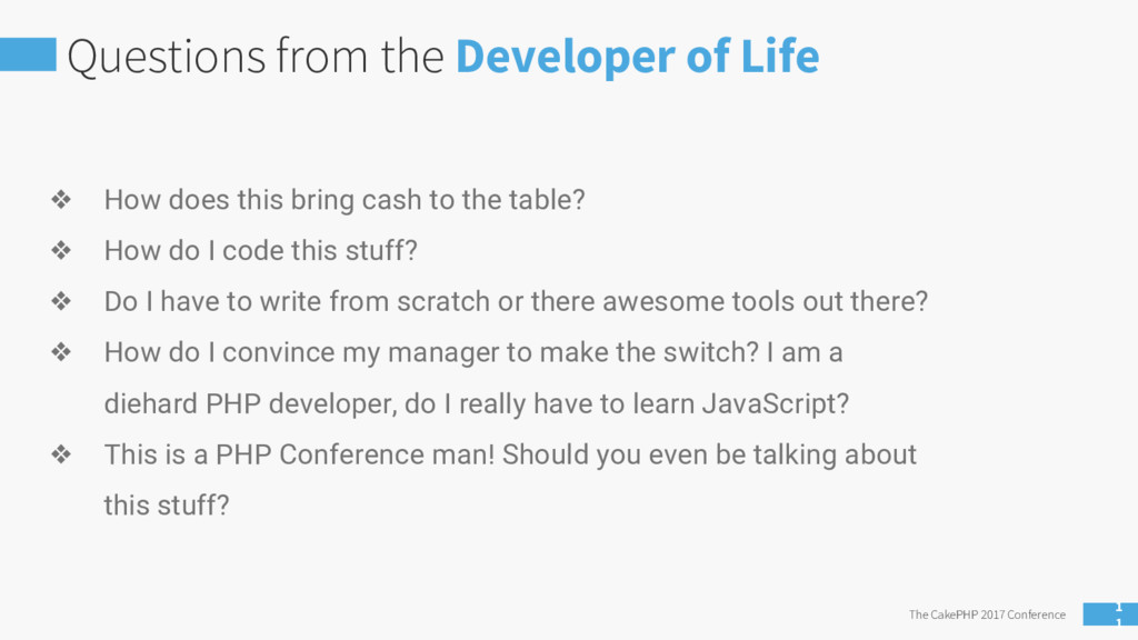 Questions from the Developer of Life The CakePH...