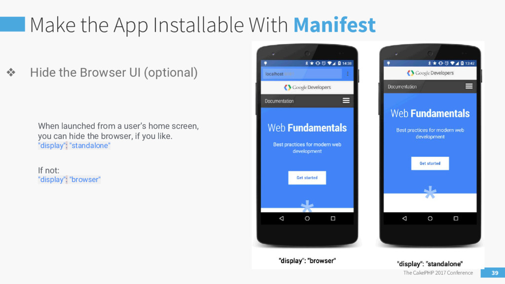 Make the App Installable With Manifest The Cake...