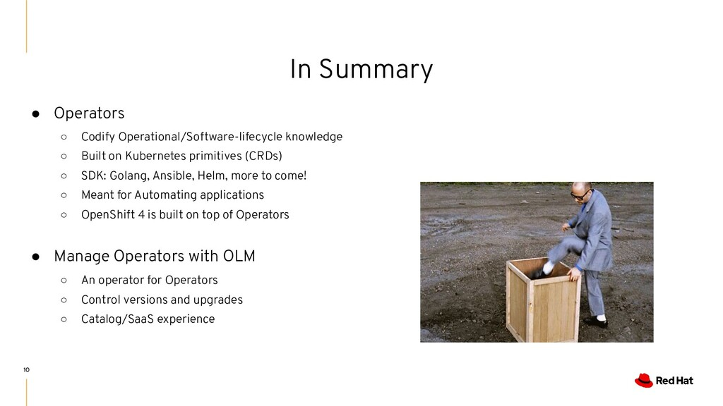 ● Operators ○ Codify Operational/Software-lifec...